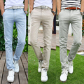 Nueva Llegada Del Verano Delgado de La Manera de Color Caqui Pantalones de Vestir Pantalones de Lino Pantalones Para Hombre Azul Grande Ropa Para Hombre Gris Pantalones Envío Gratis