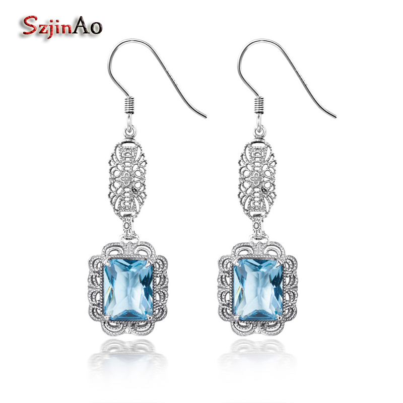 Szjinao Aquamarine March Birthstone Ethnic Earrings Solid 925 Sterling Silver Jewelry Fashion Girl Birthday Gift Bridal Earrings