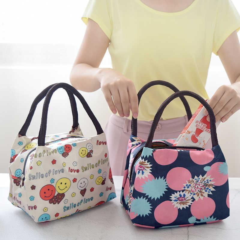 Flowers Pattern Portable Women Lunch Bag Lady Food Picnic Multifunction Bags Handbags Waterproof Lunchbox Storage Box Kids