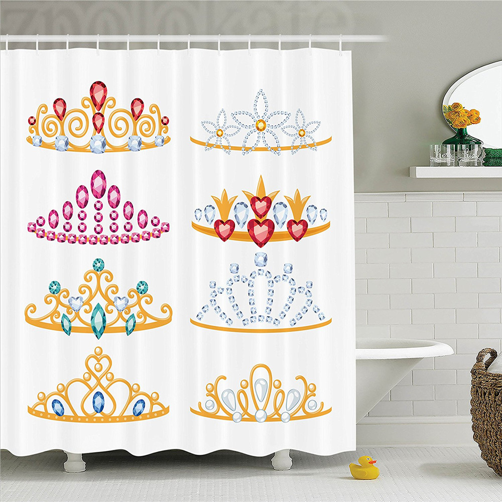 Teen Girls Decor Shower Curtain Set Golden Tiaras with Vivid Digital Gemstone Figures Collection Cartoon Print Bathroom Accessor