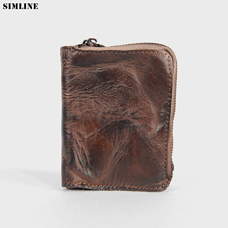 100% Genuine Leather Wallet For Men Women Short Vintage Handmade Double Zipper Wallets Male Purse With Card Holder Coin Pocket