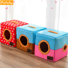Petshy New Pet Home Dog Bed Nest Warm Cozy Puppy Cats House Foldable Doggy Sleeping Playing Kennel Fun Small Animals Cover