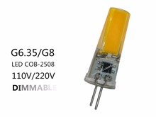 10 pièces G8 LED COB GY6.35 G8 110V 220V dimmable LED GY6.35 110V LED G8 220V cob2508 gradation led g6.35 220v cob2508 cristal Lumière
