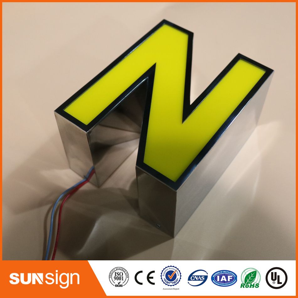 Frontlit Stainless Steel Alphabet Sign Advertising Frontlit Outdoor Stainless Steel Light Letter