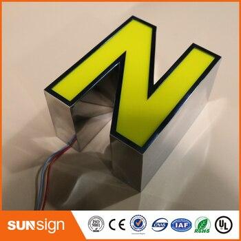 Frontlit Stainless Steel Alphabet Sign Advertising Frontlit Outdoor Stainless Steel Light Letter