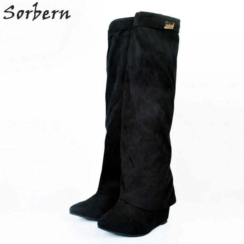 Botines La Bottes Cuñas Negro Las De Zapatos Mujeres Por 2017 Damas Rodilla Tamaño Invierno Mujer Plus Botas 76Tqw7P