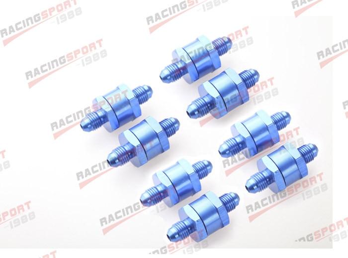ФОТО 8pcs 4AN Fuel Non Return One Way Check Valve Petrol Diesel Aluminium Alloy OWV-06-BLUE-8