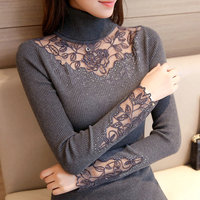 New 2017 Korean Autumn Winter Lace Knitted Sweaters For Woman Pull Femme Slim Turtleneck Long Sleeve
