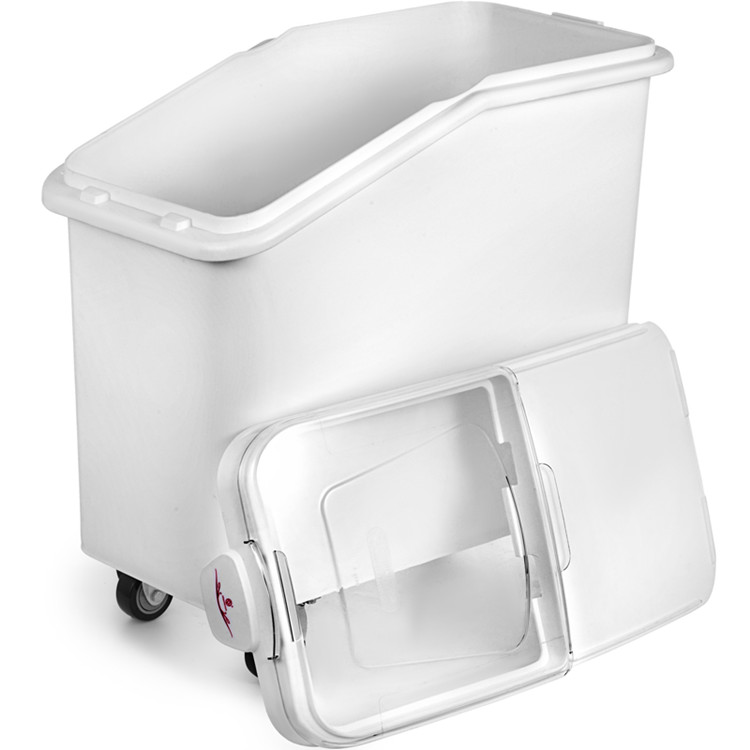 White Plastic Mobile Ingredient Storage Bin With Lid 21gallon
