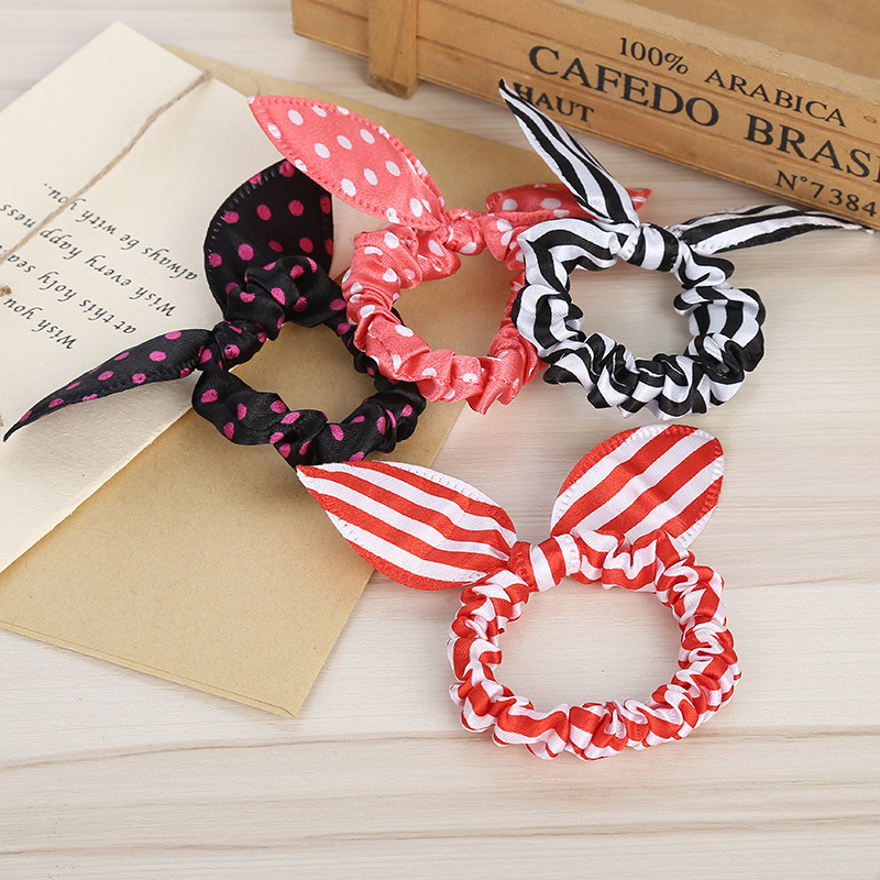 New Women Rabbit Ear Scrunchie Hair Band Rope Elastic Tie Ponytail Holder lot