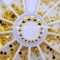 Rodada de ouro metall 3d decorações da arte do prego pregos acessórios suprimentos unhas manicure ferramentas de design da roda 2mm 3mm