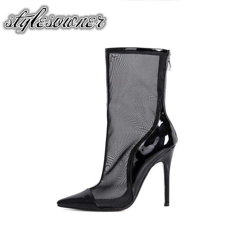 Stylesowner 2018 Spring Autumn Popular Design Mesh Female Boots Thin Heels Pointed Toe Black Apricot Color Fashion Style Boots