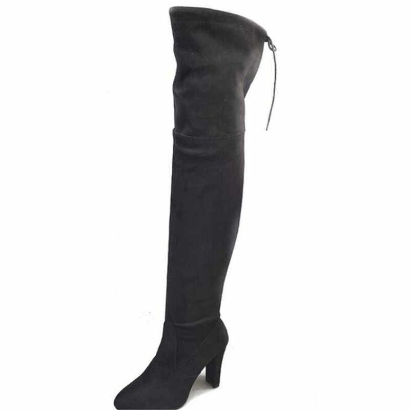 ผู้หญิงอบอุ่นรองเท้า 2019 ฤดูใบไม้ร่วงและฤดูหนาวใหม่ชี้หนาพร้อมซิปด้านข้างเข่ารองเท้ายืดหยุ่นรองเท้ารองเท้าผู้หญิง