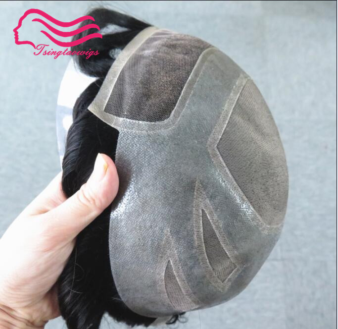 Top quality swiss lace front with fine mono  men  toupee Versalte brand , Lace Front 100% Natural Hair French Lace free shipping-in Toupees from Hair Extensions & Wigs    1