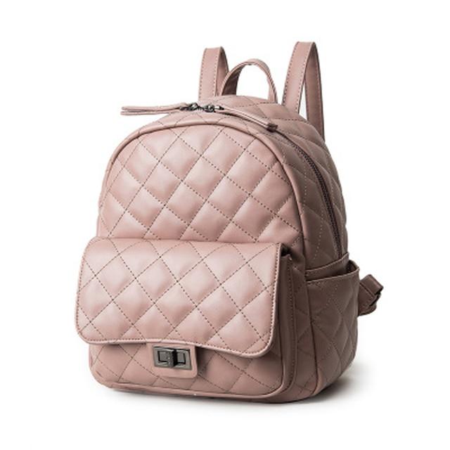 Women Leather Backpacks Simple Style Backpack For Teenage Girls Fashion Plaid Rucksack Bag Casual School Bags mochila Pink XA5H