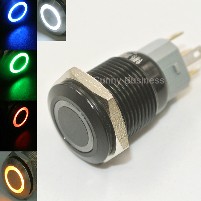 Momentary Pushbutton Switch 1NO1NC Black Metal Shell with LED Ring Suitable for 19mm 3//4inch Mounting Hole 220V orange light SODIAL R