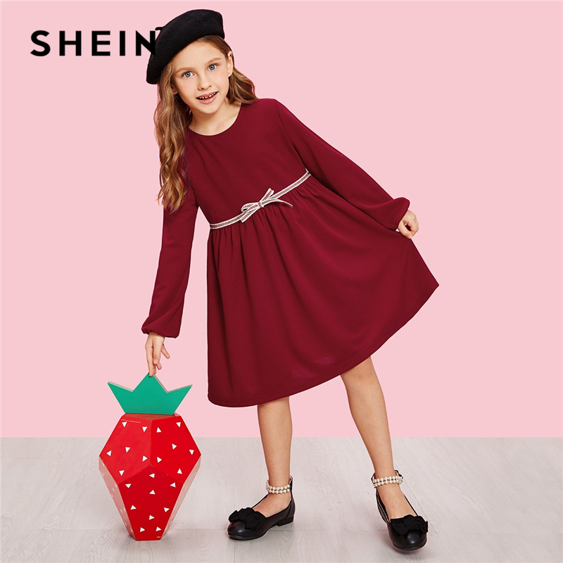 SHEIN Girls Burgundy Zip Back Bow Front Cute Dress 2019 Spring Korean Long Sleeve A Line Elegant Kids Dresses For Girls Clothing