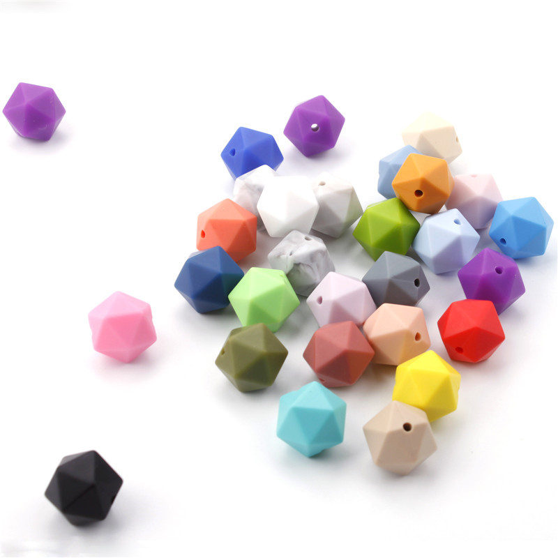 100PCS Food Grade Solicone Chewable Icosahedron Beads 14mm For Baby Teething Necklace Pacifier Chain Bpa Free Teether