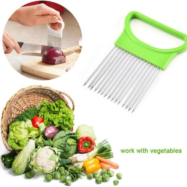 Onion Holder Stainless Steel Vegetable Cutter Slicer Gadget 2