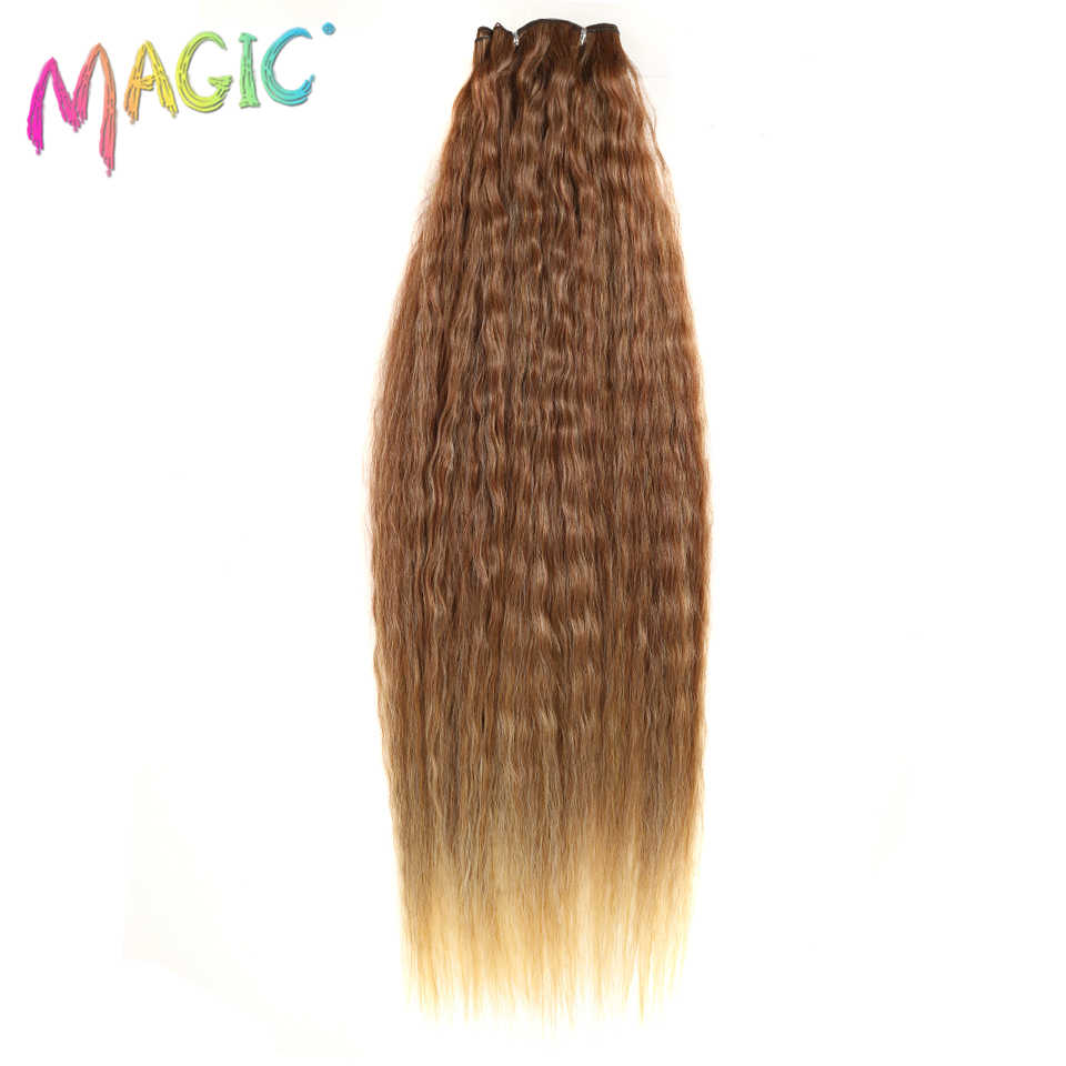 "MAGIC Extension Kinky Straight Hair Weaving 28""30""32""Inch Ombre Color  High Temperature Synthetic Hair Bundles For Black Women"