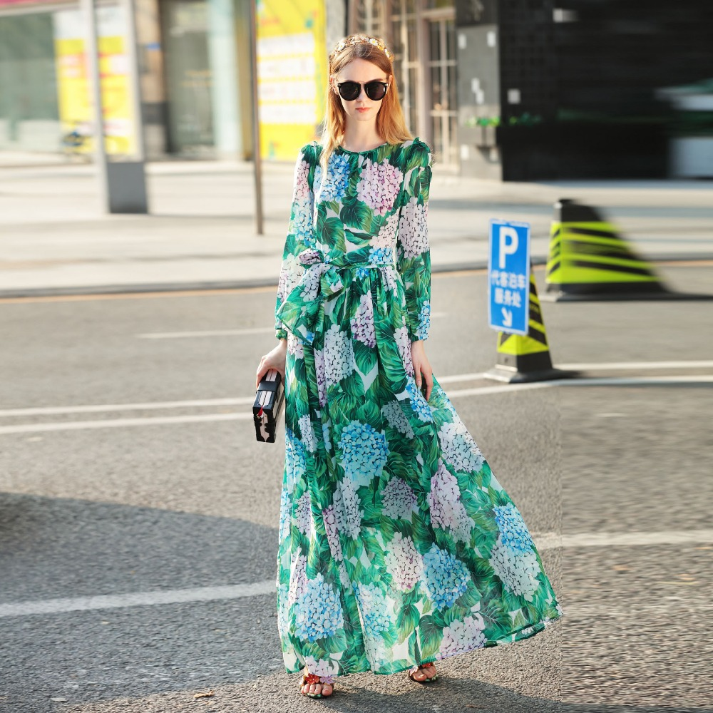 Euramerican Fashion Runway Designer Maxi Long Dress A-Line Full Sleeve Sashes Floral Print Boho Beach Holiday Long Dess