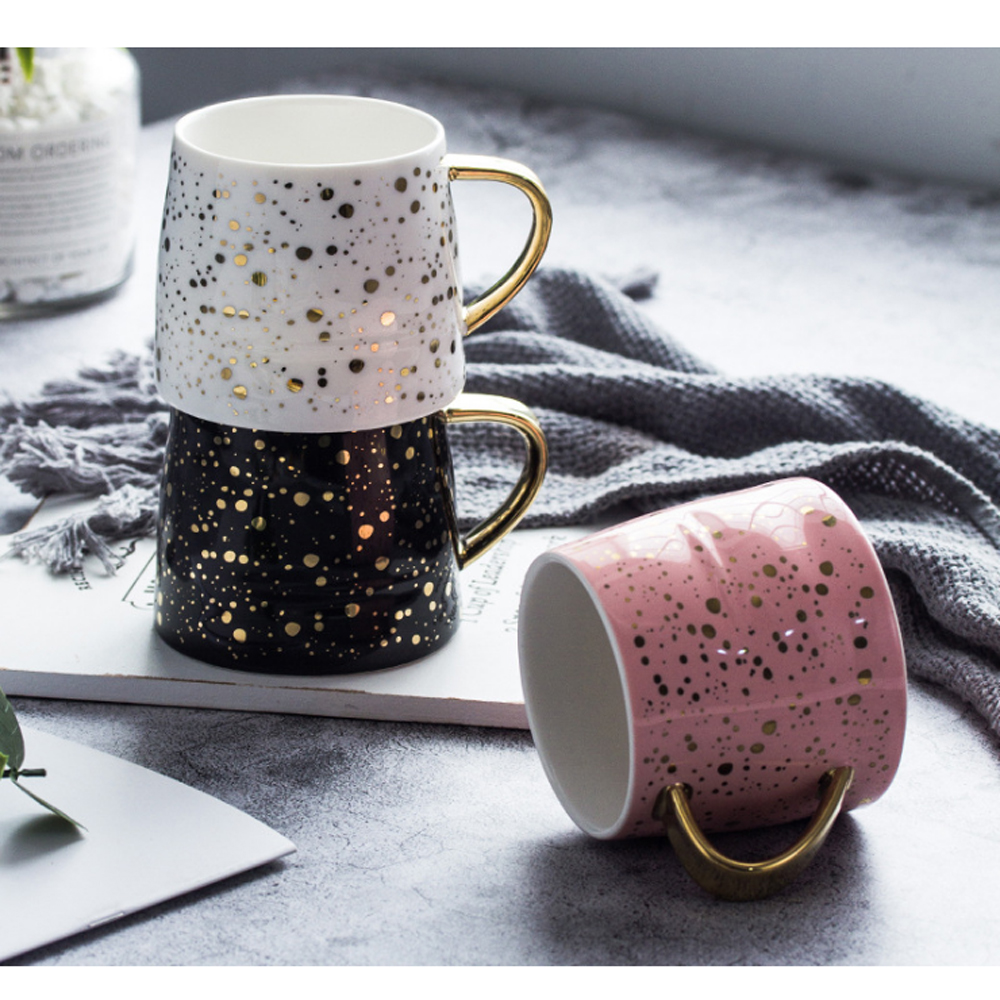 Керамическая кружка для кофе чашка для молока посуда для напитков звездное небо узор чашка простые и креативные кружки Роскошная чашка рож...