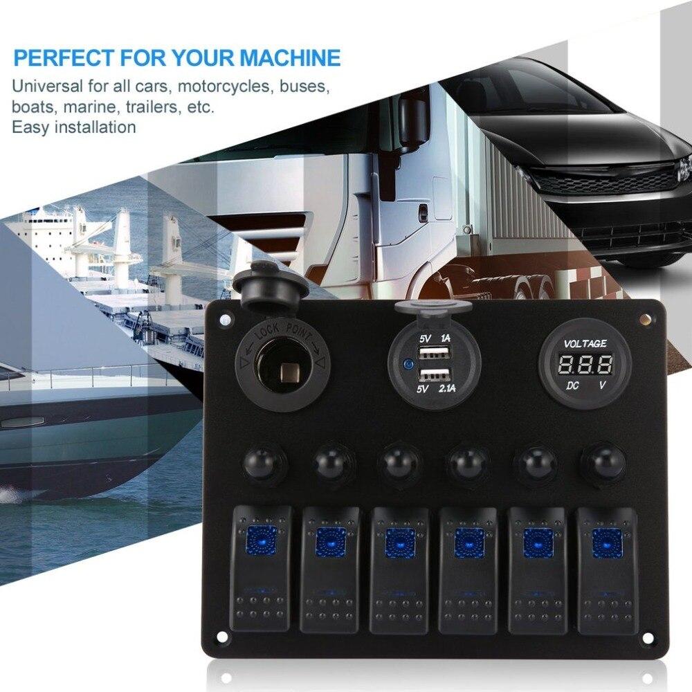6 Gang Voiture Bateau Marine LED Commutateur Panneau Étanche Interrupteur À Bascule Contrôle avec Numérique Voltmètre Double USB Chargeur