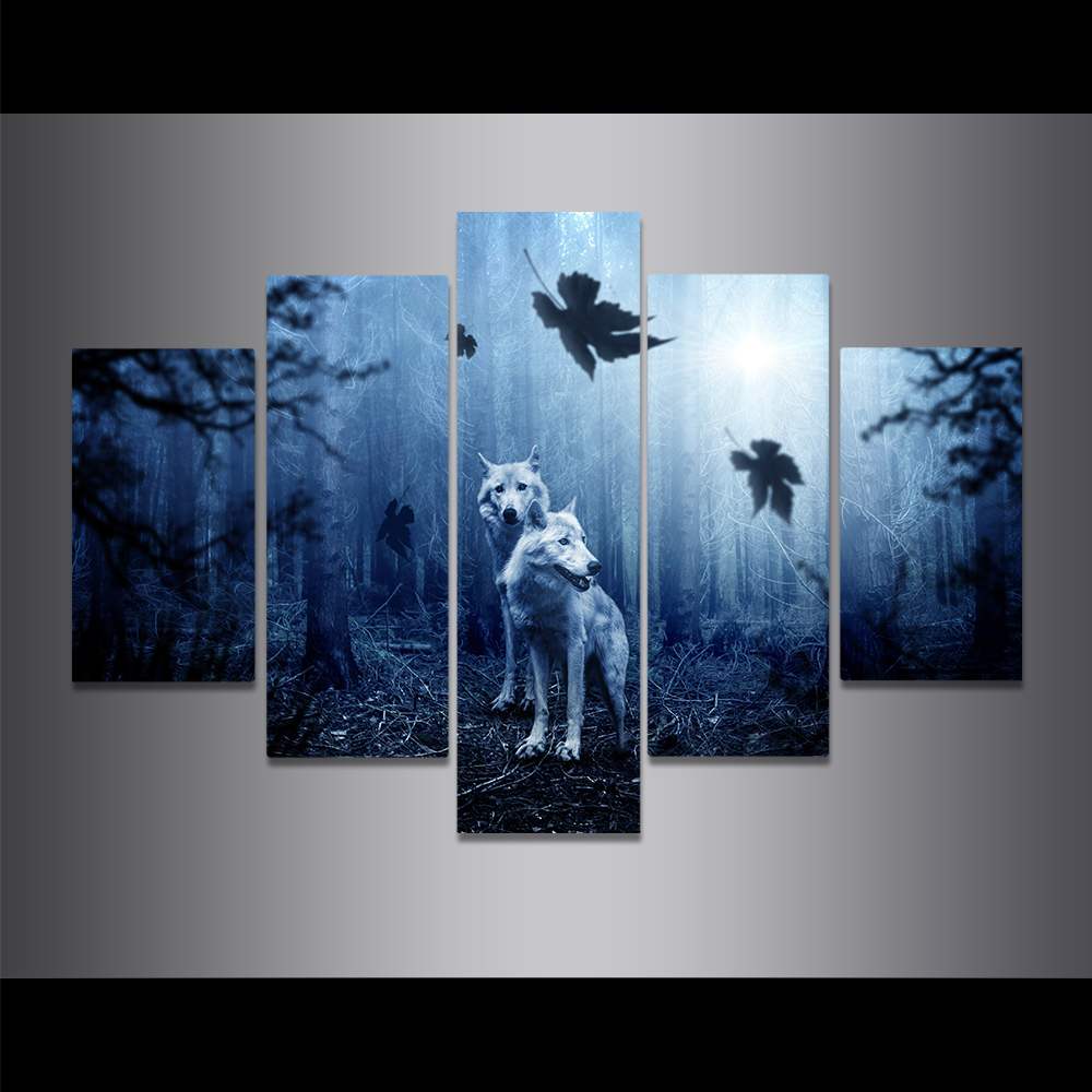 Unframed Canvas Painting Forest Wolf Sun Dark Coniferous Pine Picture Prints Wall Picture For Living Room Wall Art Decoration
