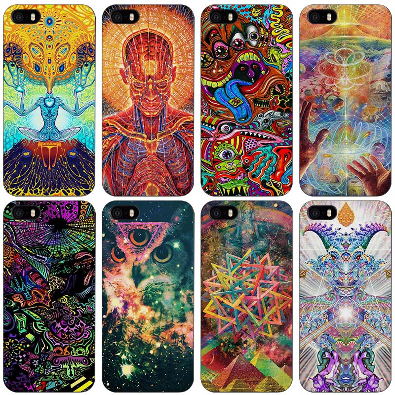 Psychedelic drawing Black Plastic Case Cover Shell for iPhone Apple 4 4s 5 5s SE 5c 6 6s 7 Plus