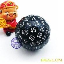 Bescon многогранные кости 100 сторон кости, D100 штампы, 100 сторонний кубик, D100 игровые кубики, 100 сторонний кубик черного цвета