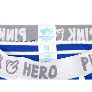 Image 5 - חדש 5 יח\חבילה חבילה ורוד גיבור Mens מתאגרף תחתוני כותנה פס רגיל מזדמן חגורת גומי איש מכנסיים קצרים תחתונים באיכות גבוהה