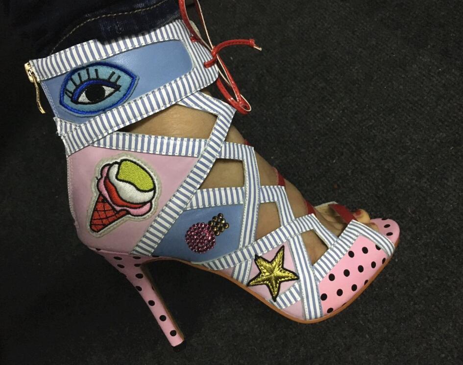 Abesire 2019 femmes mixte couleur yeux & crème glacée imprimer découpes bride à la cheville sandales bottes Ladiesn Peep Toe talons hauts bottines