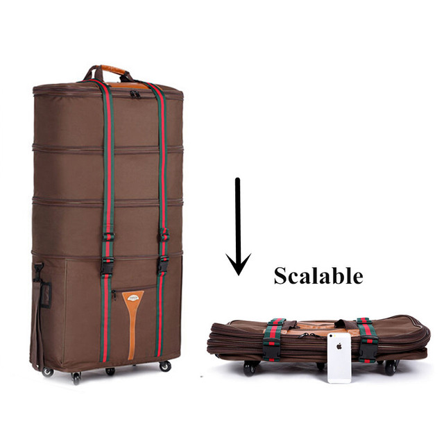 Oxford Super Large Check Box,Luggage Travel Bags,Telescopic Folding Trolley Bag, Brown And Black Suitcase