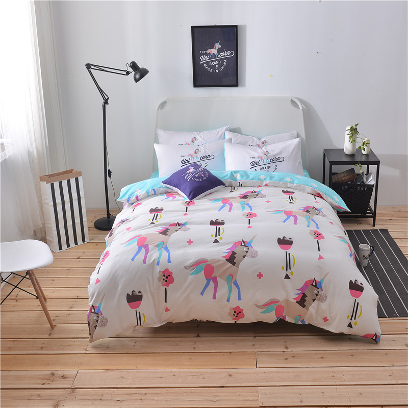 Cute Cartoon Color Horse Pattern Home Textile 4 Pcs Queen Size Bedding Set Bed Set Brief Duvet Cover Bed Sheet Pillowcase Soft ...