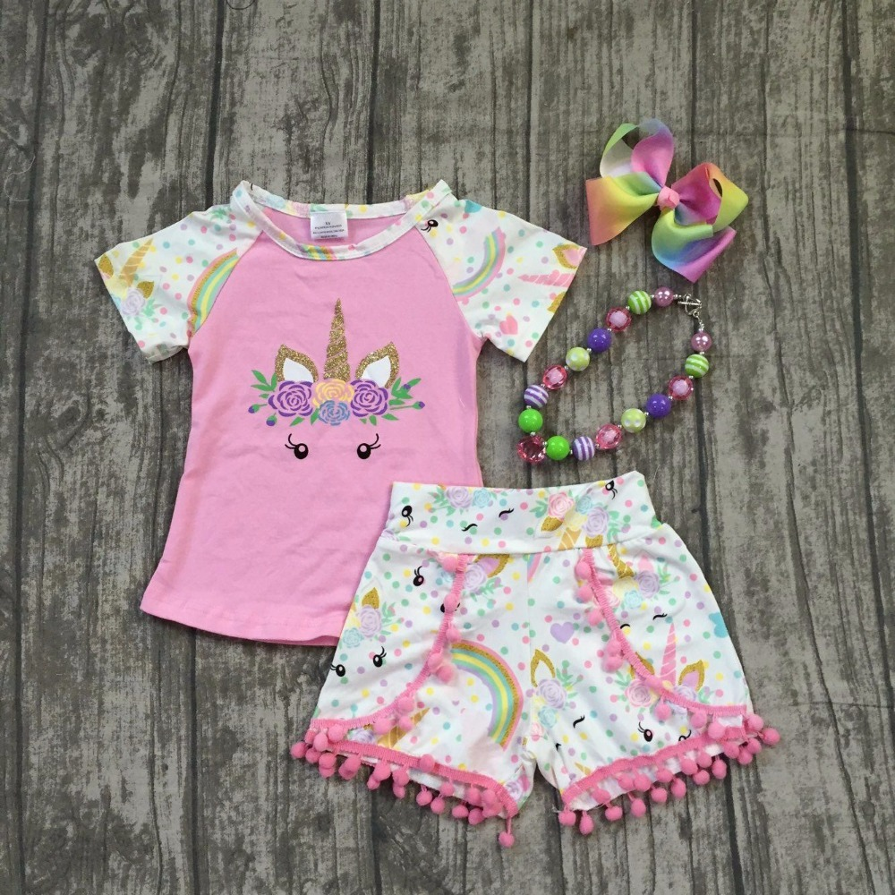 2018 new arrival pink unicorn short sleeves baby girls Summer boutique clothing pom-pom shorts with matching accessories set baby pom pom hem swan print romper with headband