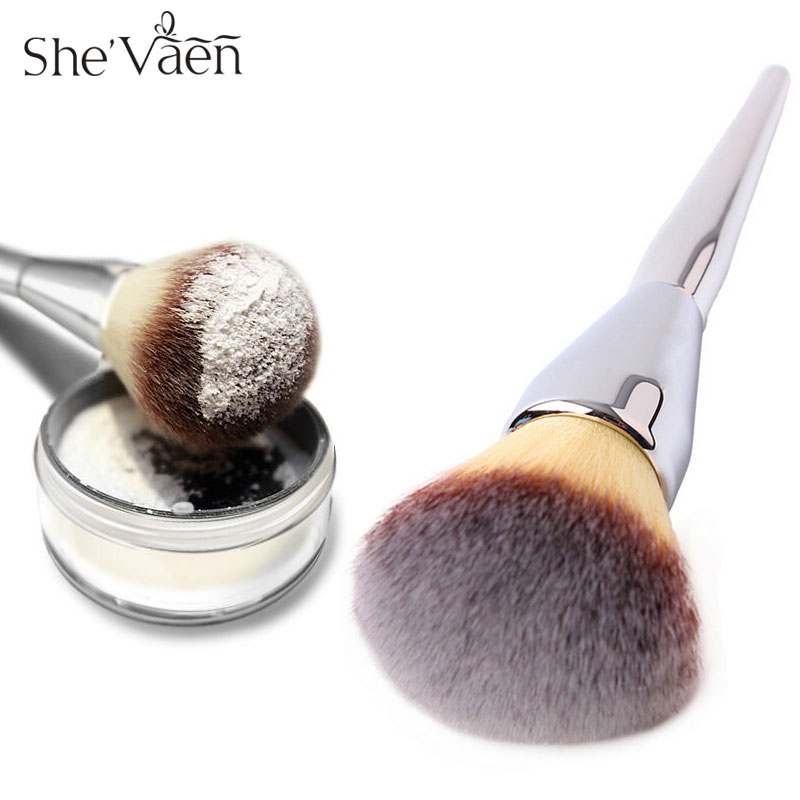 Metal Silver Contour Makeup Brushes Soft Large Powder Brush Blush Make Up Tool Foundation Cosmetic Makeup Brush very big beauty powder brush blush foundation round make up tool large cosmetics aluminum brushes soft face makeup free shipping