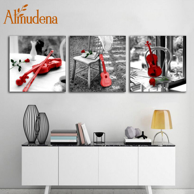 Charmant ALMUDENA Moderne Dekoration Wohnzimmer Wandkunst Malerei 3 Panels Rote  Violine Druckt Schwarz Weißes Leinwand Poster