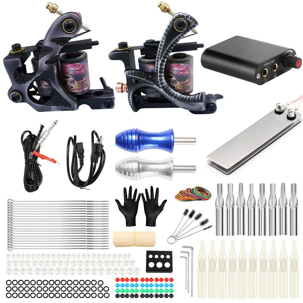 все цены на Stigma Tattoo Complete 2 Coil Tattoo Machine Kit Power Supply Foot Pedal Switch Needles Set TK201-2 онлайн