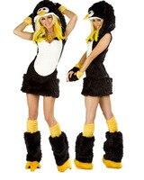 Sıcak Satış Seksi Hayvan Kostümleri (Penguen) Kadınlar için Yetişkin Cosplay Kostüm Cadılar Bayramı partisi Maskot fantezi elbise