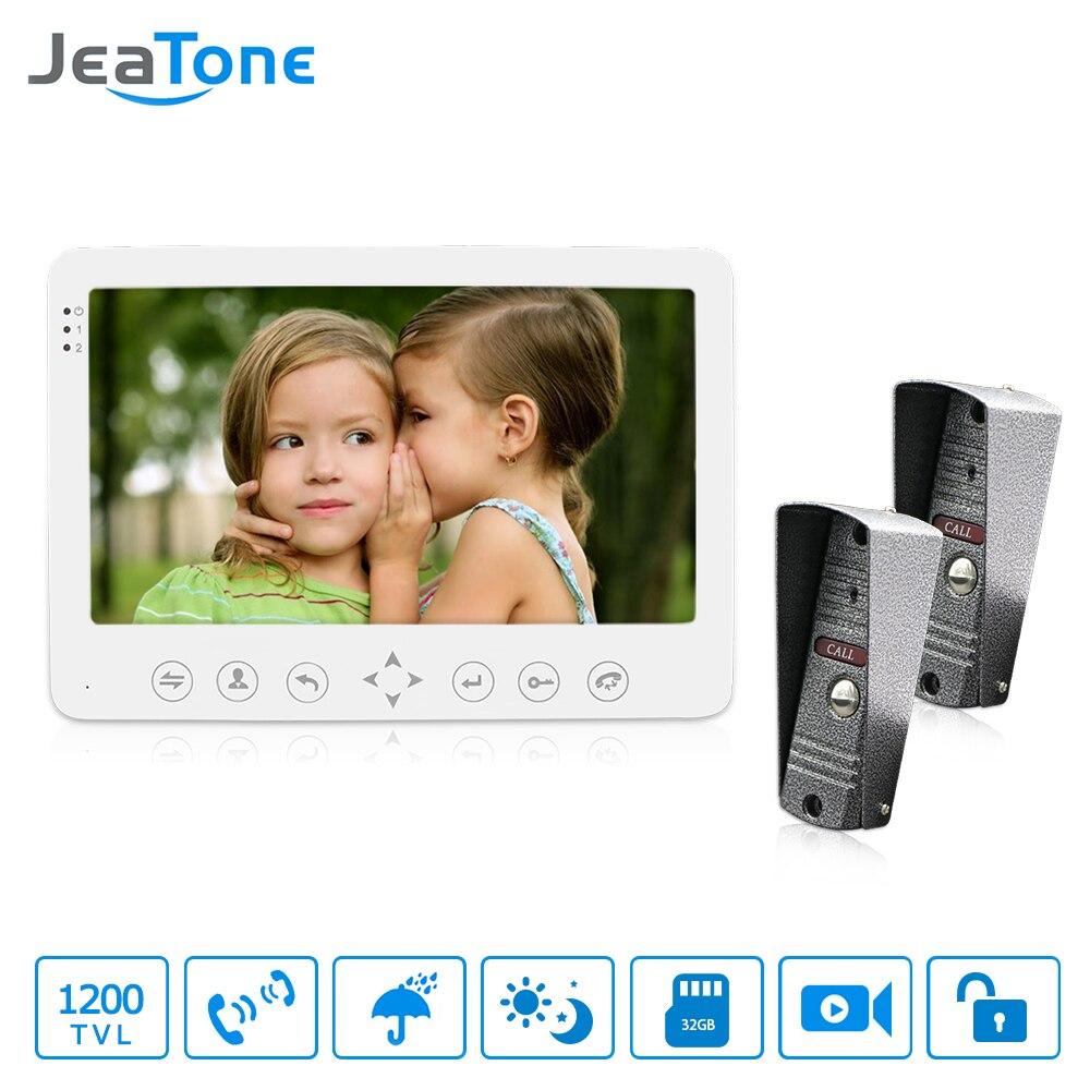 JeaTone 1200TVL Sistema de Intercomunicadores Vídeo 7 Hands-free Dual câmera Monitor Interno de Comunicação da porta para uma casa particular segurança
