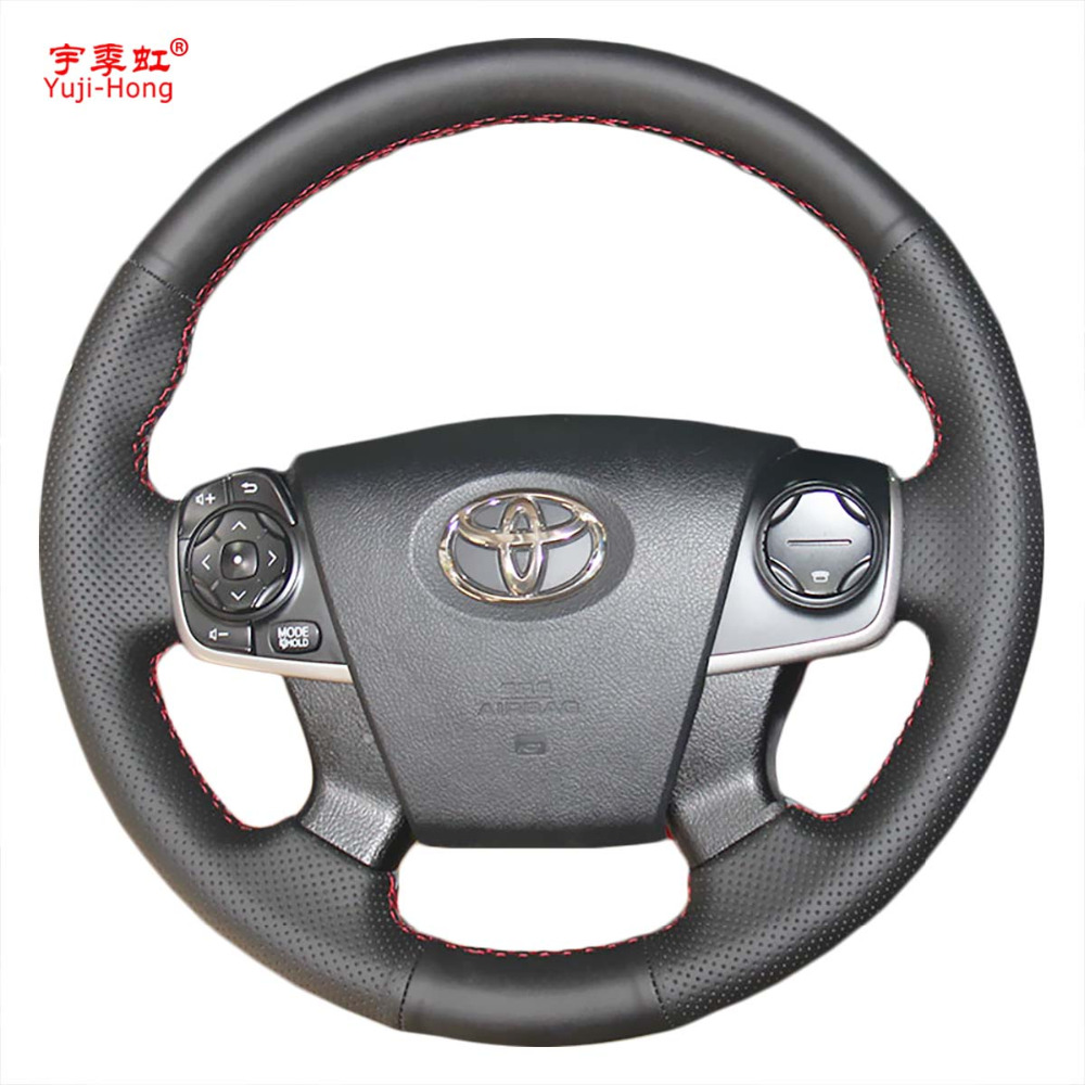 Yuji-Hong Artificial Leather Car Steering Wheel Covers Case for Toyota Camry 2015 Micro Fiber Leather Hand-stitched Cover
