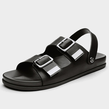 US6-10 New Summer REAL Leather Buckle Strap Men's Gladiator Casual Sandals Outdoor SlidesThongs Shoes