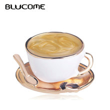 Brooch Pins Coat-Accessories Suit Coffee-Cup Women Blucome Enamel White Fashion Spoon