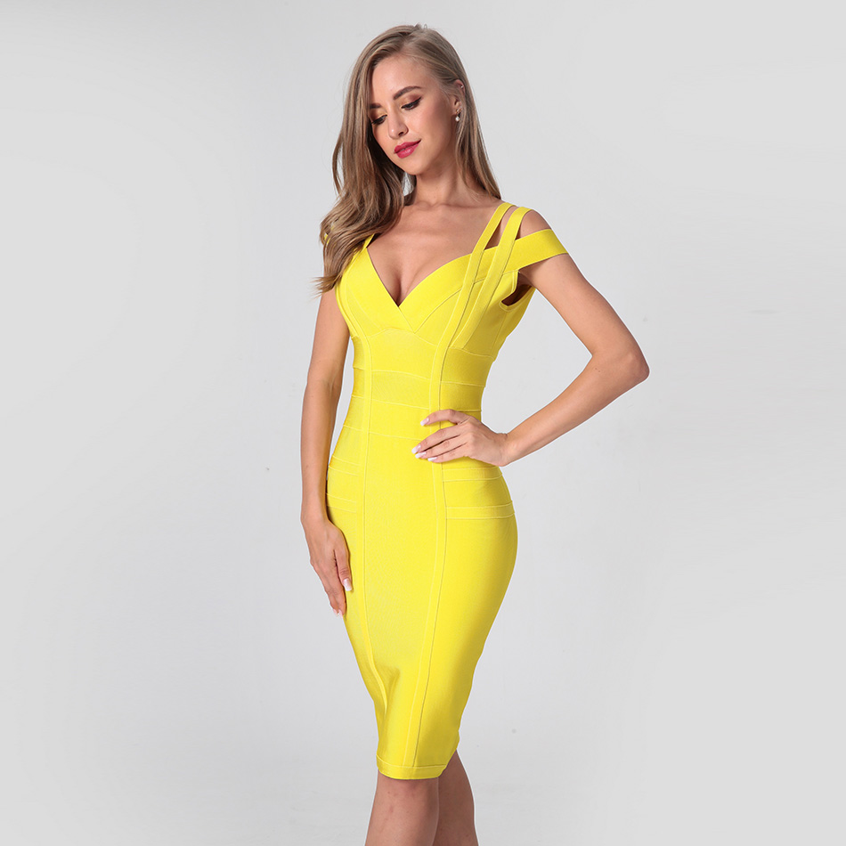 Spaghetti Strap Solid Women Bandage Dresses Hollow Out Sleeveless Knee Length V-Neck Night Club Robe Femme Dress Vestidos