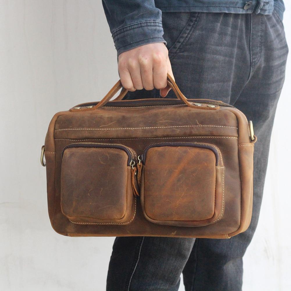 Brown Genuine leather men's Briefcases double pockets cow leather leisure bag multi-functional shoulder Messenger bag