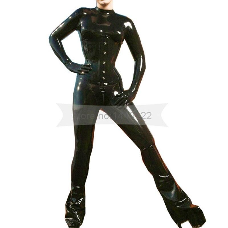 Latex Hood Back Zipper Handmade Caoutchouc Masque pour catsuit femme Club Wear Costume