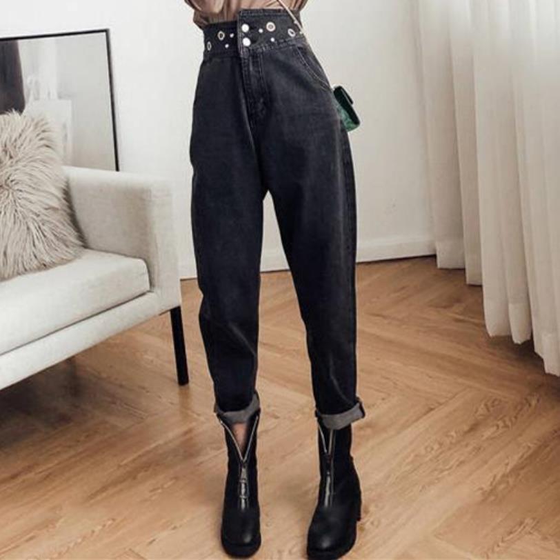 plus size 5XL!Wome Casual High Waist Jeans 2019 Autumn Winter Boyfriend Loose Jeans Femme Streetwear harem Pants