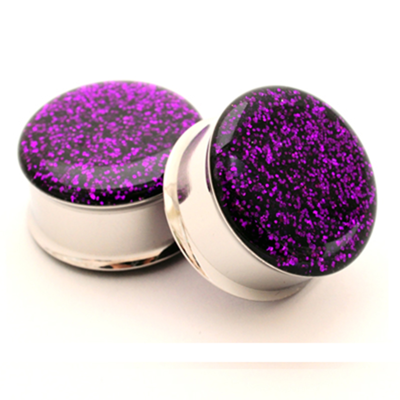 1 pair plugs stainless steel purple glitter double flare ear plug gauges tunnel body piercing jewelry PSP0026