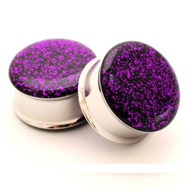 1 para ze stali nierdzewnej purpurowy glitter pokój flare ear podłącz wskaźniki korki tunel body piercing biżuteria PSP0026