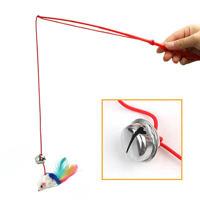Top Quality New Hot 1pcs Faux Mouse Feather Dangle Fun Bell For Pet Cat Kitten Kitty Cat Toys,free shipping